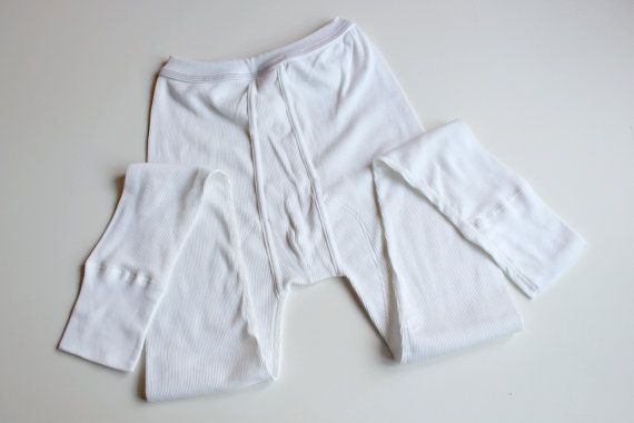 Soviet Vintage Mens Underwear, Long Underpants, Unused with Tag, White Ribbed Cotton, Retro Lingerie, Gift for Him, USSR era 1980s by LittleRetronome