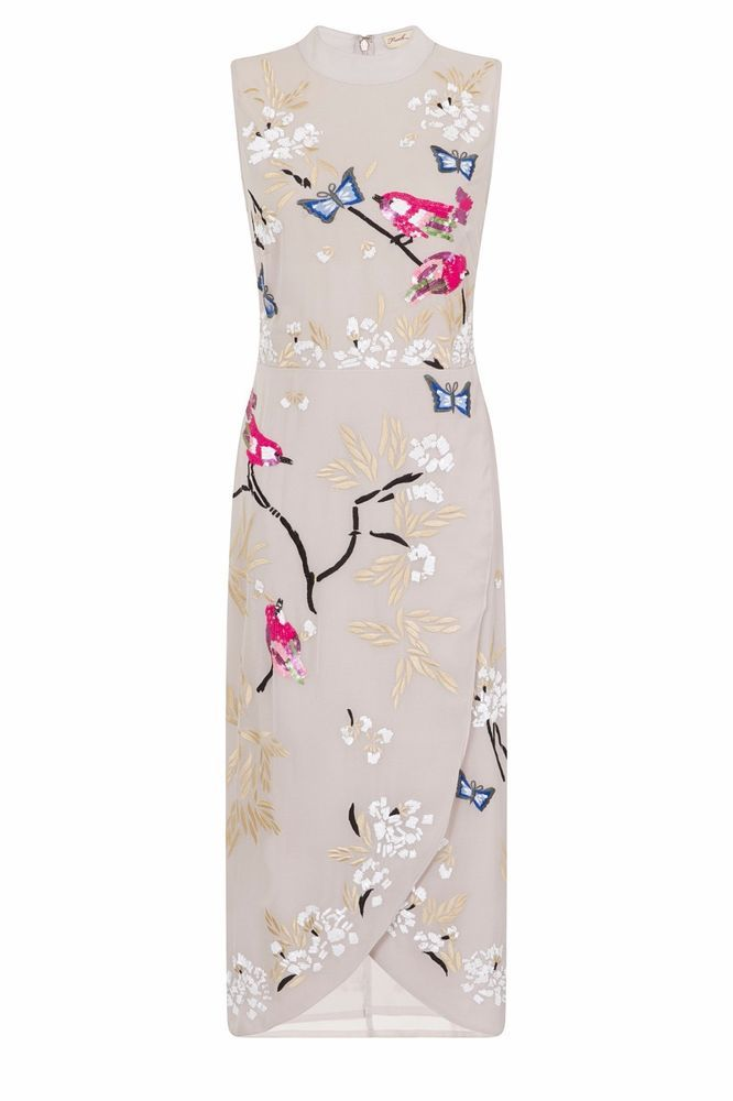 Oriental Style Wrap Dress Bird Butterfly Floral Frock and Frill Embellished Midi