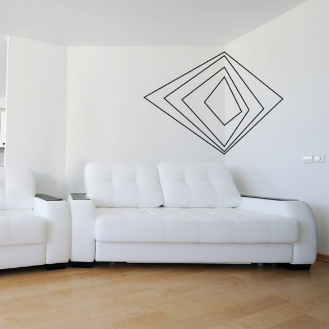 Geometrical wall design 48 Eye-Catching Wall Murals to Buy or DIY via Brit + Co.