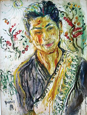 Indonesian Artist Affandi: Portrait of Manu, wife of Lain Singh Bangdel. 1953.