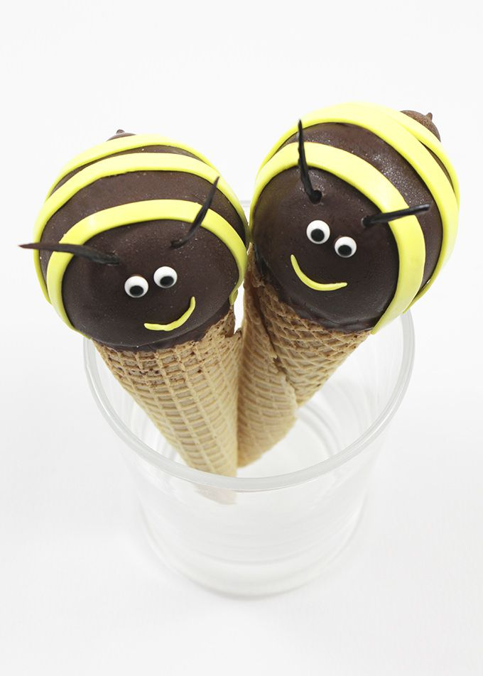DIY Bee Ice Cream Cones Made From Store Bought Cones