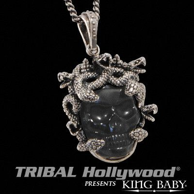 MEDUSA SKULL Black Agate and Silver Necklace for Men by King Baby