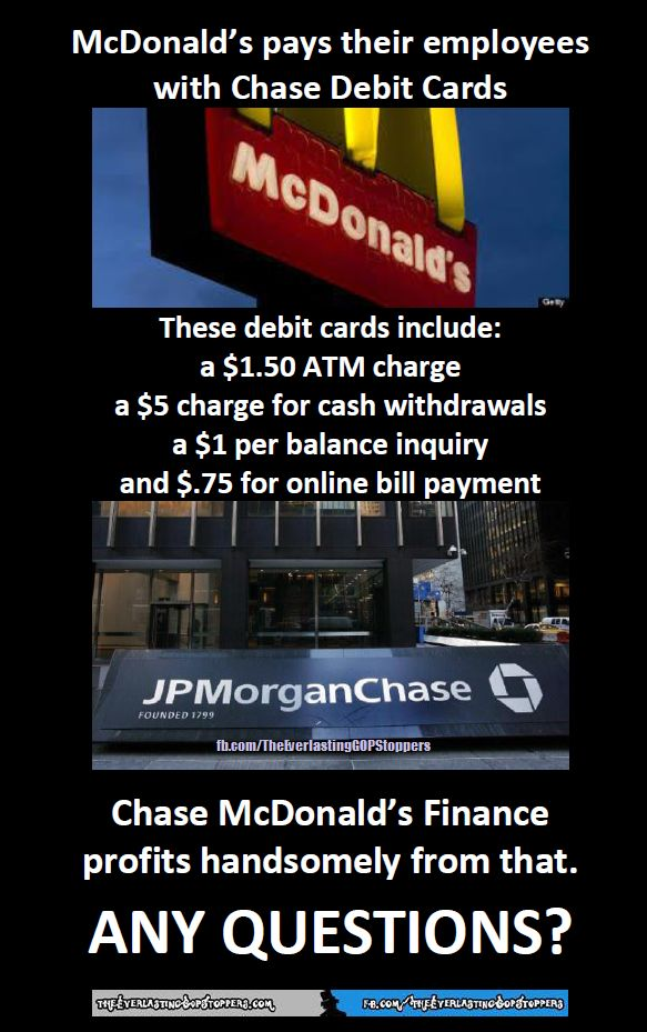 AND THEN McDonalds has the gall to counsel their employees to get a second job, and go without heat in order to pay their bills. (They are already without health benefits).  I will never go there again...they have lost my business for good!