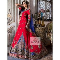 Latest Pakistani red lacha with blue contrast for muslim bride