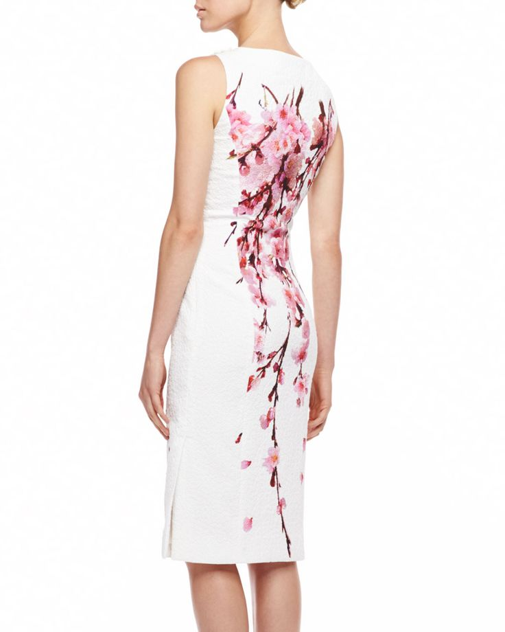 Carolina herrera Cherry Blossom Jacquard Dress Whitepink in White (MULTI) | Lyst