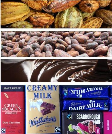 Fairtrade chocolate frombean to block.