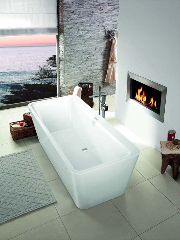 Mesmerizing Luxury master bathrooms with fireplaces |~ LadyLuxury~ colours and textures