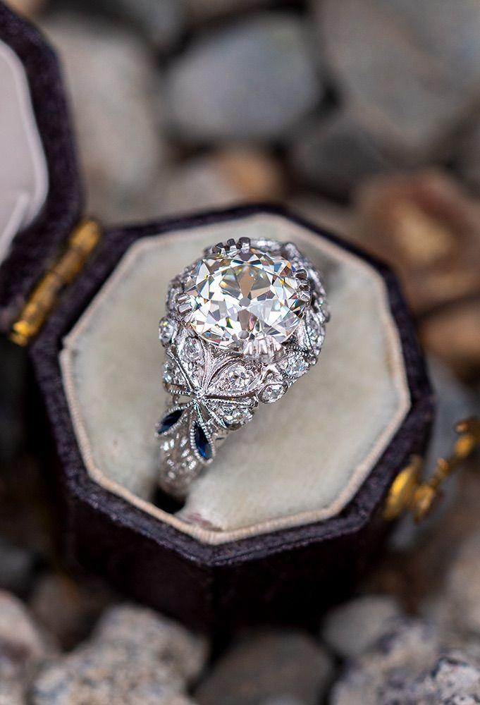 Art Deco Engagement Ring Old European Cut Diamond 1.93ct M/VVS2 GIA