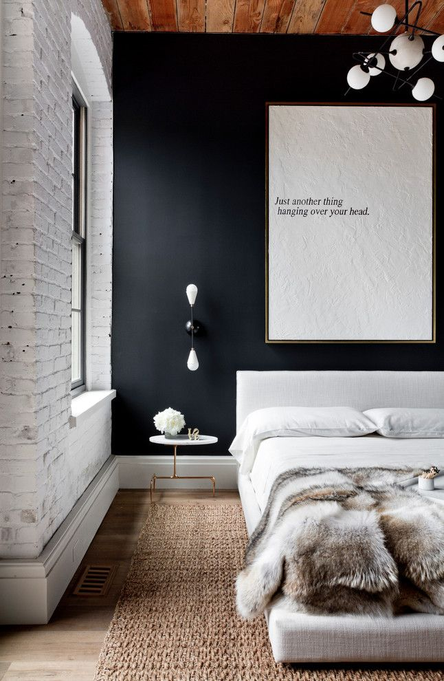 Urban bedroom with white brick wall navy wall wood for White fur bedroom