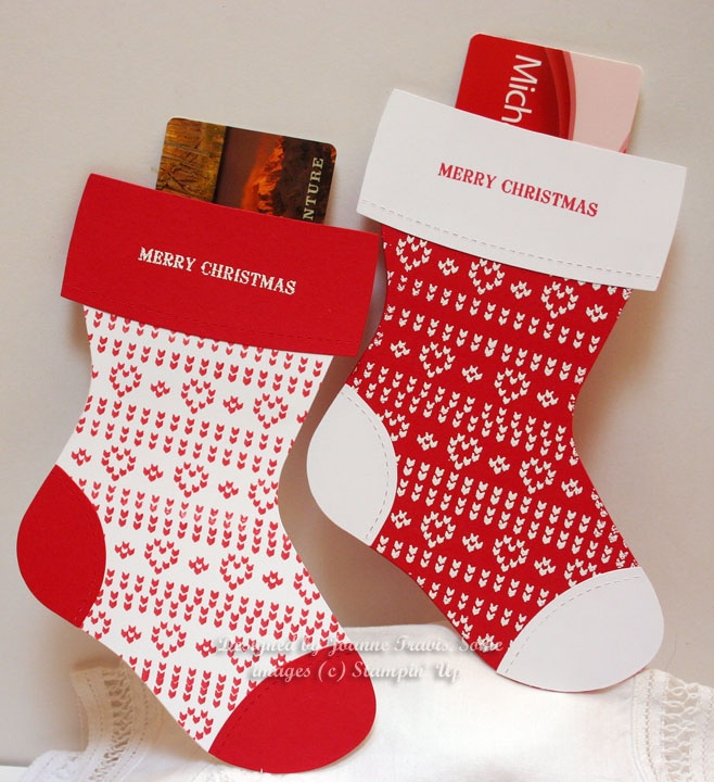 die gift card holders in Real Red and Whisper White with Nicely Knit ...