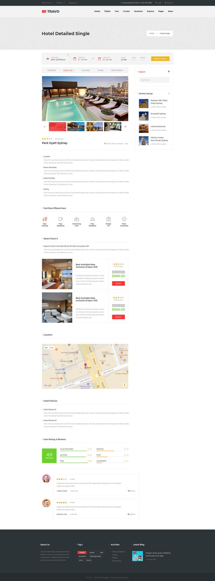 Travo Hotel Booking & Travel PSD Template Booking,
