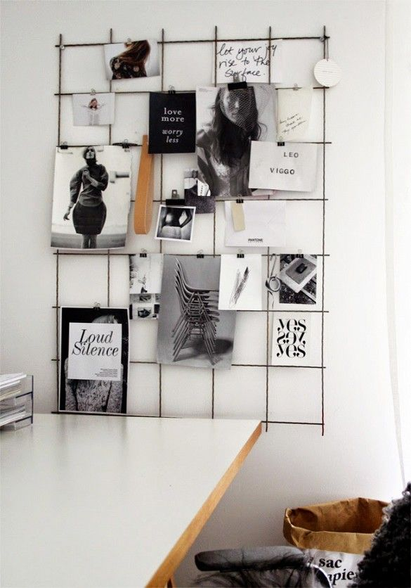 Like Pinterest in real life, this wire board will keep your inspiration close at hand. Materials: Wire grid fencing, wire cutters, binder clips, nails The Tricky Part: Not getting a hand cramp while cutting the wire to size.   More Inspiration: Stil Inspiration