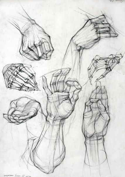 A good rendition of hands. I like the skeleton fingers best. A little busy, but good reference.: