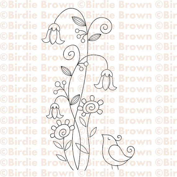 Cute, delicate embroidery pattern (wouldn't this be cute on a little girl's Bib or denim jumper, or edge of a pillowcase or just a framed fabric wall hanging!)  Blue thread for bird, red & yellow flowers, green stem/leaves, purple buds on stems!