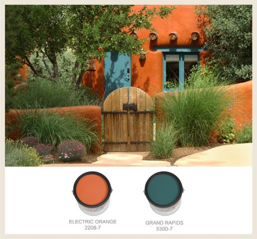 Bright, vibrant color in Southwest Design -  Southwest Hacienda. Find the paint at Behr. Find the ♥Hacienda Style Furniture at Accents of Salado. accentsofsalado.com