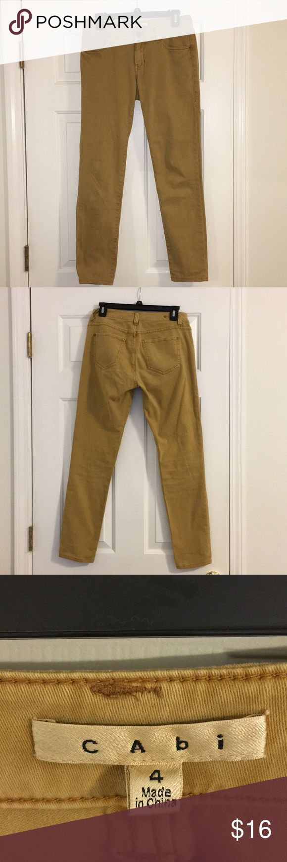 💛🧡 CAbi Tan/Gold Jeans CAbi jeans in a gold/tan, almost mustard yellow color. Super cute! Excellent, like-new condition! CAbi Jeans