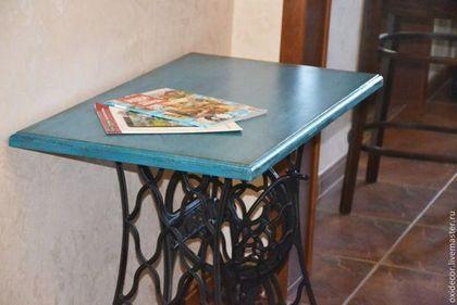 Р! СТОЛ НА СТАРОЙ СТАНИНЕ - тёмно-бирюзовый,стол,стол письменный,стол из дерева