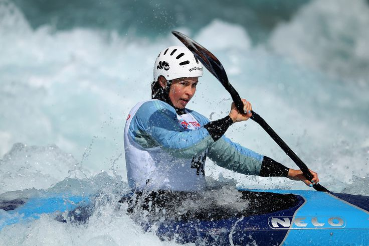 Hannah Burgess competes in the Kayak Women's Single during the Great Britain Canoe Slalom Selection Trials for the London 2012 Olympic Games at Lee Valley White Water Centre on April 15, 2012 in London, England.