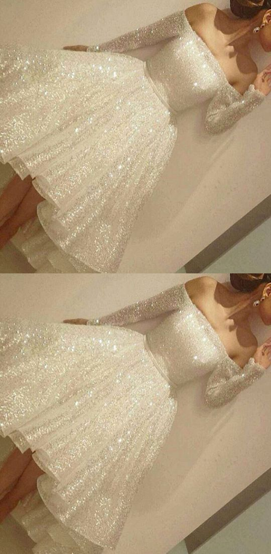 Noble Sparkle White Prom Dress,Sexy Off The Shoulder Evening Dress,Long Sleeves Party Dress,Short prom dress,