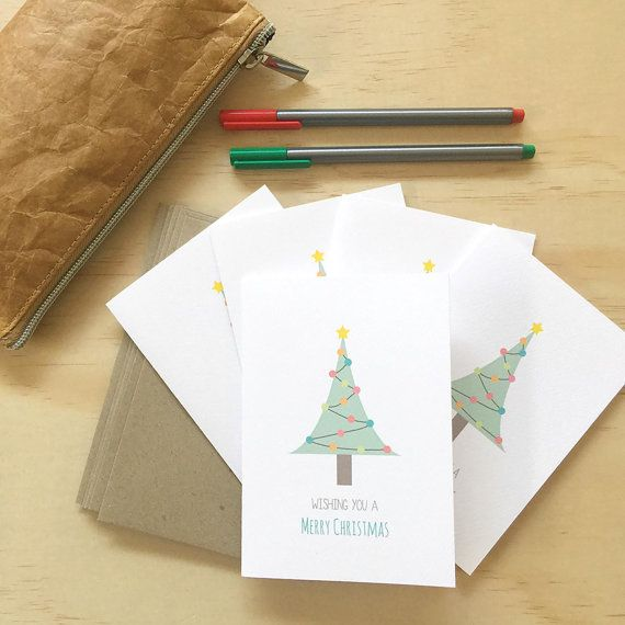 Christmas Card Pack - Christmas Tree - Set of 5 Cards - 5P017 - Wishing You a Merry Christmas