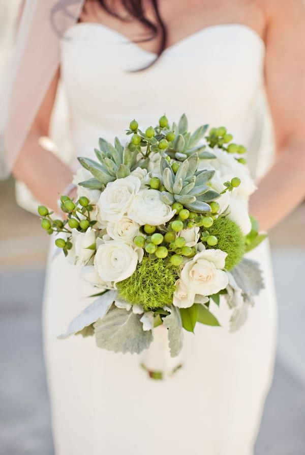 Stunning white and green bouquet