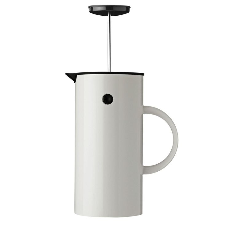 Scandinavian designed EM French Press by Stelton is an advancement on their vacuum jug which is of a similar aesthetic. This product is great for brewing up to 8 cups of coffee and the double walls insulate liquids keeping your coffee warm for as long as you need. The white coffee maker will go perfectly in any minimal inspired kitchen or office area.