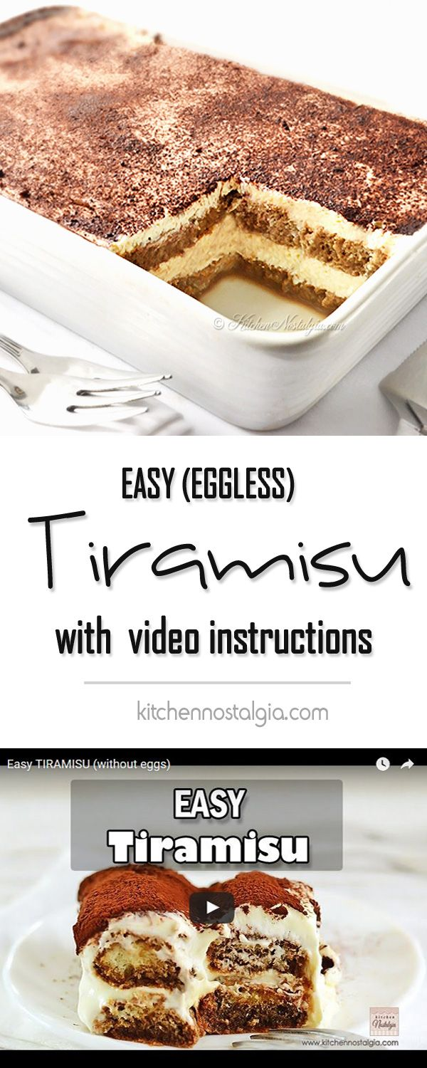 video recipe with step-by-step instructions for tasty Easy Tiramisu – 5-minutes, no-bake recipe without eggs