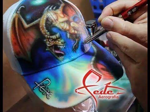 ▶ Aerografia Gorra Dragón - YouTube