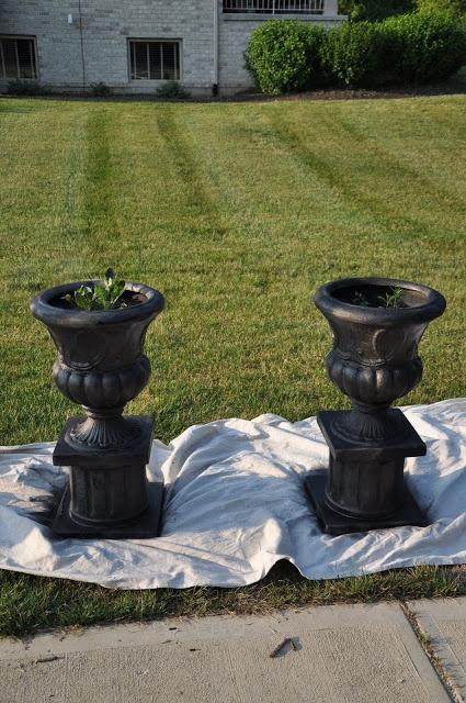 Evolution of style june 2011 painted concrete pots for Painting concrete pots