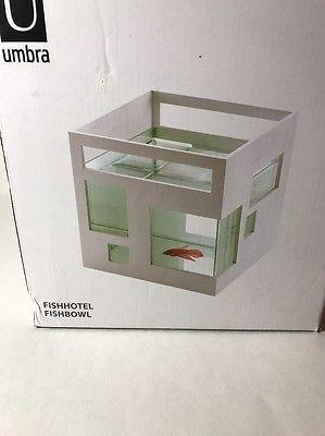 Umbra Glass Fish Bowl Tank Hotel Aquarium Fishhotel Stackable White  | eBay