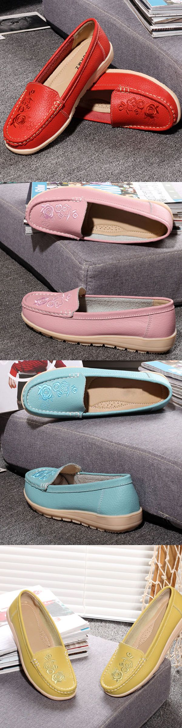 US$15.13 Flower Print Pure Color Flat Leather Slip On Casual Loafers_Floral Shoes_Flat Outfits