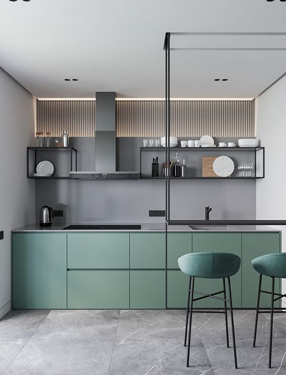 Modern Green And Gray Kitchen With Stools And An Eat At Counter