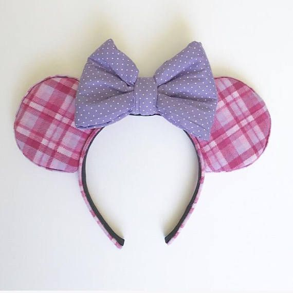 Pink and Purple Flannel Mouse Ears Valentines Day Plaid Headband Extra Soft With Bow PRODUCT DETAILS -Extra soft pink and purple plaid flannel fabric for ears -Purple Polka Dot Cotton bow -1 inch headband INCLUDES -1 pair of Pink And Purple Plaid Extra Soft Flannel Mouse Ears **All