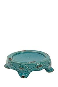 CERAMIC CRACKLE CANDLE PLATE