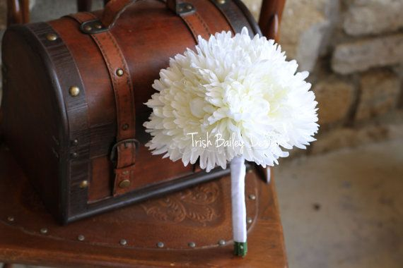 White Chrysanthemum Wedding Bouquet by FloralDesignsbyTrish