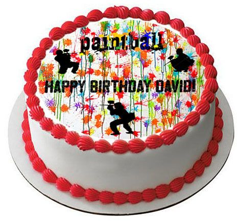 PAINTBALL Splatter Laser Tag Paint Party Edible Birthday Cake Topper