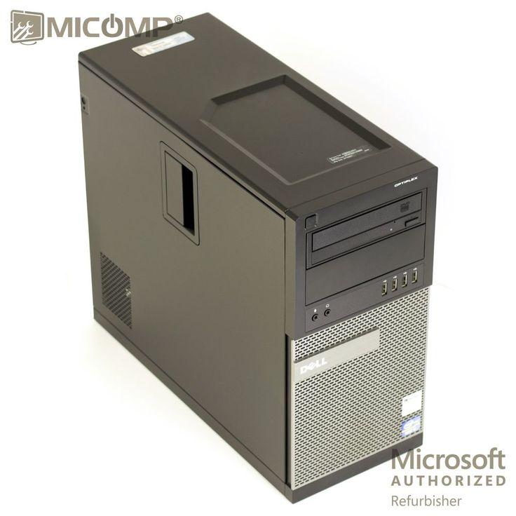 """Dell Desktop Computer PC & TWO 22"""" LCD Quad Core i5 3.1Ghz 8GB 500GB Win 10 WiFi #Dell"""