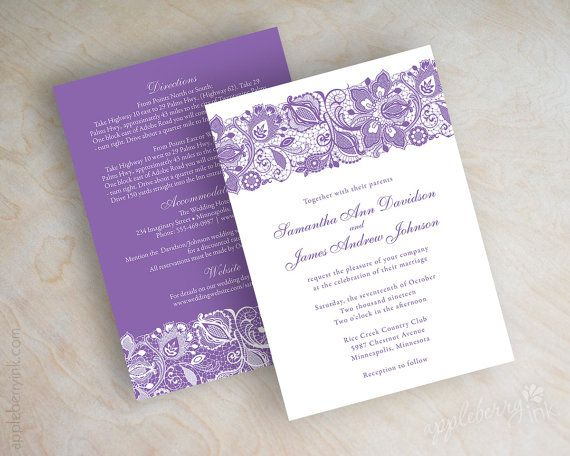 Lace wedding invitations, purple lavender lace wedding invitation, lilac wedding stationery, lace wedding invites, lace wedding invite, Jessica by www.appleberryink.com