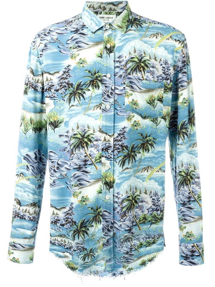 Saint Laurent Long Hawaiian Print Men's Shirt