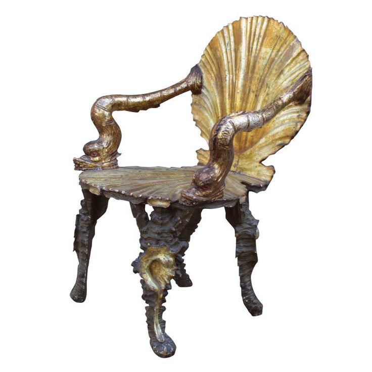 Fratelli Testolini Grotto Style Silver Gilt And Carved Wood Armchair In The  Form Of An