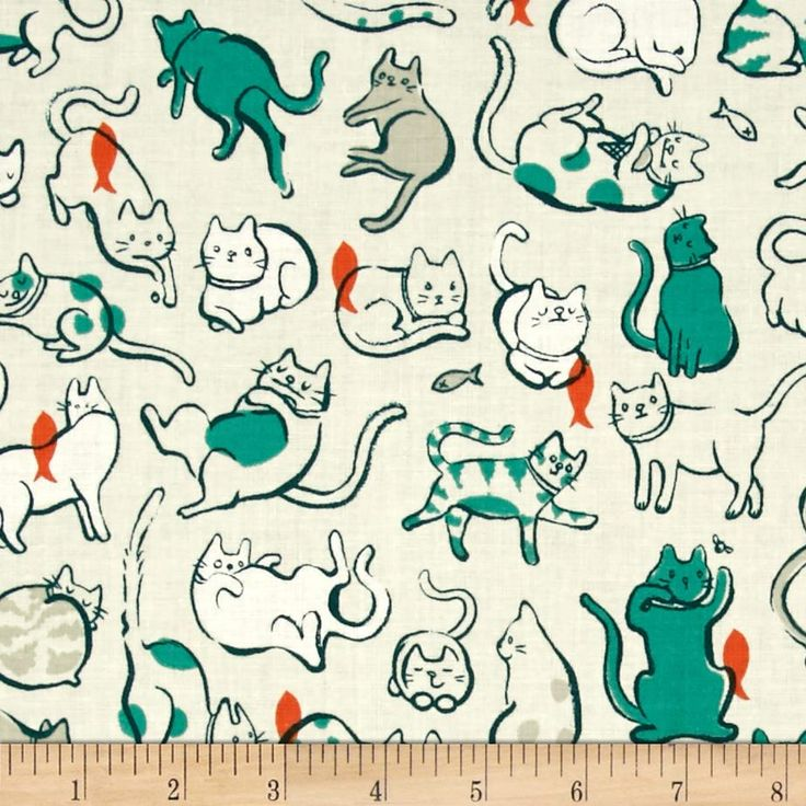 Cotton & Steel Cat Lady Schmitties Teal from @fabricdotcom  Designed by Sarah Watts for Cotton + Steel, this cotton print is perfect for quilting, apparel and home decor accents. Colors include teal, orange, white, tan and ivory.
