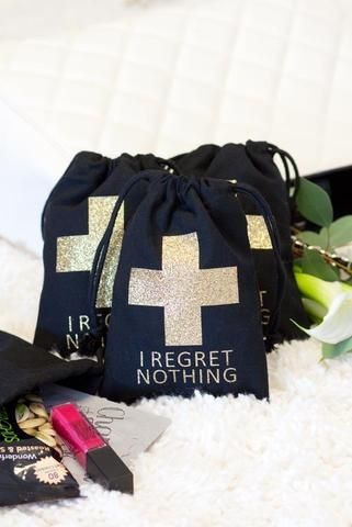 Bachelorette party hangover kit bags - bachelorette party accessories and goody bags