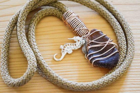 SUMMER SALE Sea horse rope necklace with by Christinasfamily