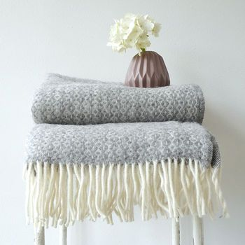 Lambswool Pattern Blanket With Fringes