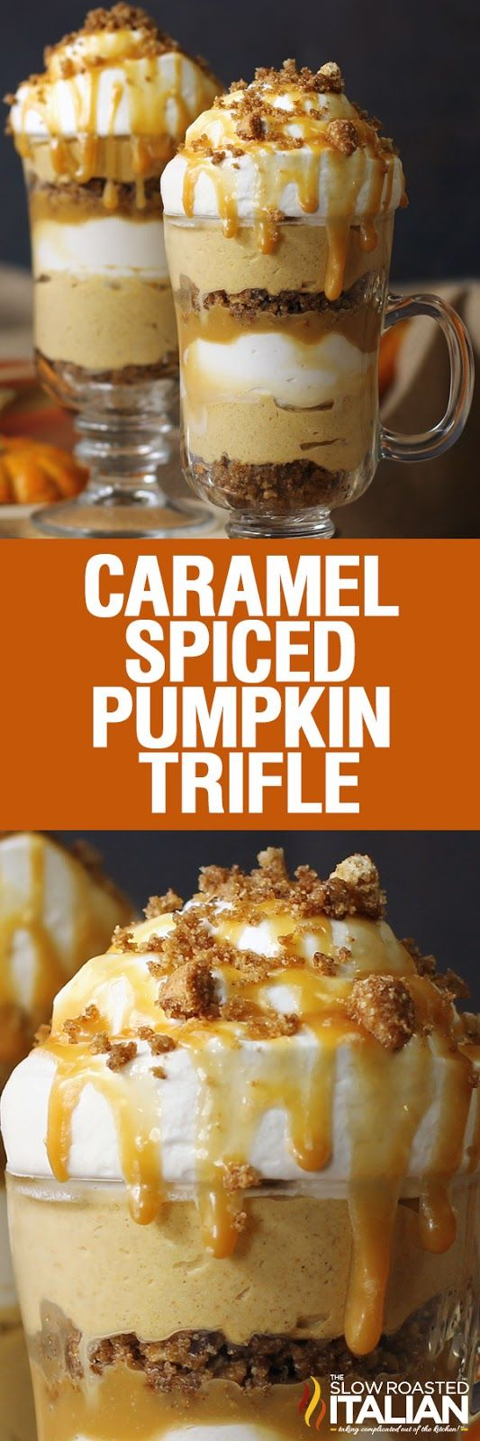This Caramel Spiced Pumpkin Parfait brings your favorite fall flavors together in this incredible 4 layer trifle! Truly a taste of autumn in a glass. A simple recipe that is perfect for individual servings or a big trifle dish for the holidays. This would be perfect for Thanksgiving!