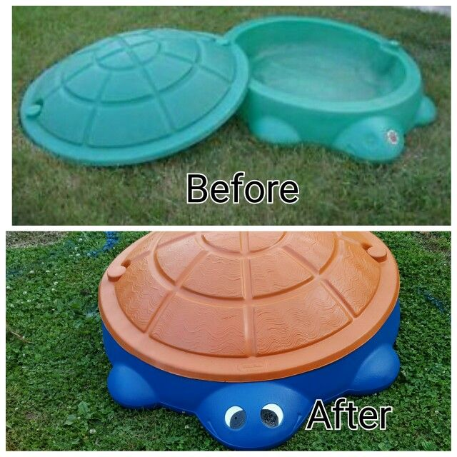 I found this Little Tikes Turtle abandonded along the  curbside.When I asked the man working outside if they were throwing it away and he said that they were  this  Little Tikes Turtle Sandbox became my first Little Tikes makeover. I used Krylon Fusion spray paint. I prepared surface according to directions.  I painted the eyes with outdoor paint, which I already had. Turtle sandbox $0. Spray paint 3 cans total each about $3.50=$10.50.