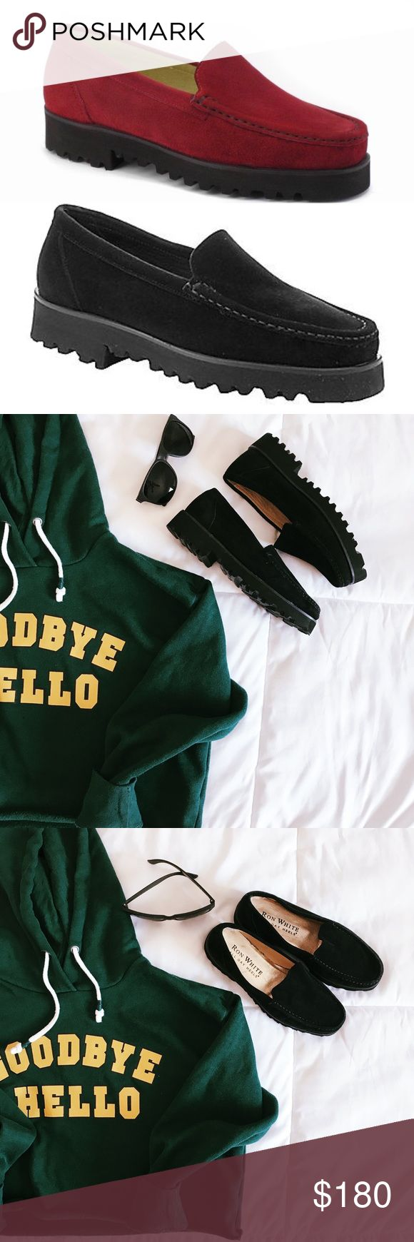 "Ron White suede chunky sole loafer 🖤The Ron White ""all day heels"" suede loafer is lightweight & crafted from cashmere suede! Chunky 1 1/2' inch sole. These shoes will make any outfit turn chic! Only worn a few times with very mild insole wear, tiny spot of suede wear on left back shoe~seen in photo, bottom soles look awesome! Retail price $345. Offers welcome✌🏼no trades thank you Ron White Shoes Flats & Loafers"