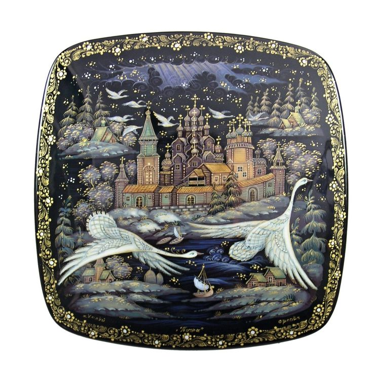 Kholui Russian Lacquer Box 3659 Swans Flying Russian North | eBay