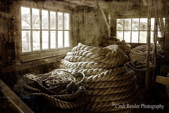 Ropewalk 5x7 Fine Art Photography Black and White by CindiRessler, $14.50 This was taken at Mystic Seaport: The Museum of America and the Sea, Mystic, Connecticut. The Plymouth Cordage Company Ropewalk is one of the historic buildings in the Mystic Seaport Maritime Village where rope was made for the ships and the community.