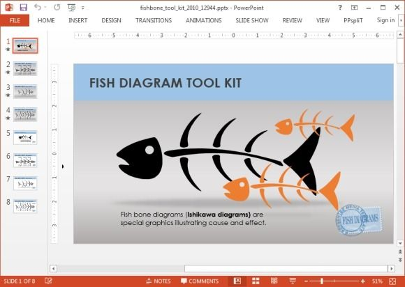 Animated fishbone PowerPoint template
